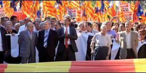 Montilla con Pujol y Benach manifestándose contra el Tribunal Constitucional