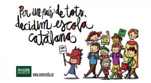 Somescola.cat cartel anunciador de la 'cercavila' organizada por Omnium y pagada con nuestros impuestos