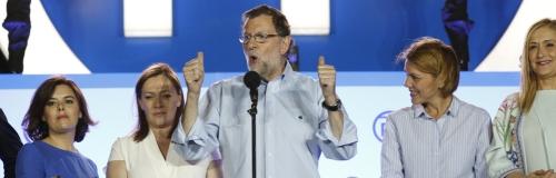 Rajoy celebrando la victoria en la sede del PP el 26-J.
