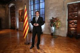 Puigdemont en su mensaje de fin de año ofreciendo al Gobierno pactar el referéndum.